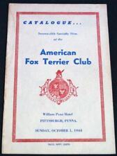 American Fox Terrier Dog Club Catalog Brochure October 1944 Vintage Dog Show