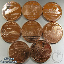 """""""Civil War"""" Series of 8 Rounds 1oz .999 Copper Rounds Beautiful rounds"""