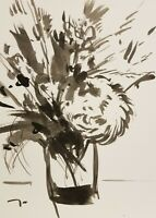 JOSE TRUJILLO - ART EXPRESSIONISM INK WASH ORIGINAL 9X12 FLORAL FLOWERS BOUQUET