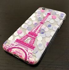 For iPhone 6 / 6S - ULTRA THIN RUBBER SKIN CASE PINK CLEAR PARIS EIFFEL TOWER