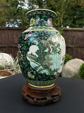 Large c1900 FAMILLE VERT VASE WITH MARKS with STAND
