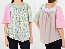 Vintage Patchwork Shirred Peasant Top Hippie Shirt Blouse Boho Hobo A Line Fit S