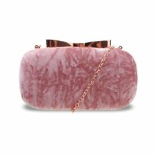 Womens DESIGNER Style Clutch Evening Bags Ladies Handbag Faux Suede Tessie Bow Clasp Light Pink