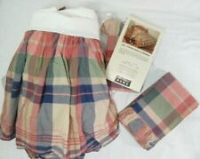 Eddie Bauer Antique Floral Plaid 3-Pc Ruffled King Pillow Shams and Bed-Skirt