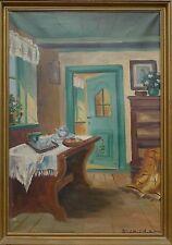 SIGRID BECHT KNUDSEN (DANISH 1864-1948) INTERIEUR -ÖLGEMÄLDE -JUGENDSTIL