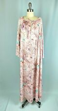 Vintage Nightgown BY TRAVEL LITE Size MEDIUM pink floral zip front pockets gown