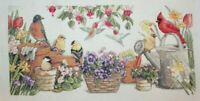 """Sunset """"Garden Friends"""" Birds Flowers Cross Stitch Partially Completed Finished"""