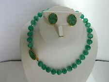 Vintage Jomaz Beaded And Carved Faux Jade Necklace And Clip Earring Set
