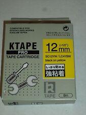 "10 K-Sun SC12YW LC4YBW Black YELLOW Tape 1/2"" K Sun 12mm EPSON COMPATIBLE KTAPE"