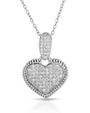 Aurora Borealis Heart Necklace With CZ in 925 Sterling silver 18in