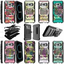 For Samsung Galaxy S8 Shockproof Dual Layer + Stand Holster Clip Case - Flowers