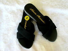 ATHENA ALEXANDER 5 Black Suede Leather Criss Cross Straps Slip-On SANDALS New