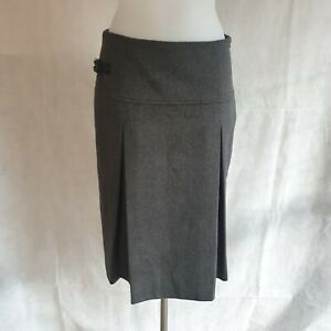 Barbour Skirt UK 12 Mid Rise Style Pencil Style Buckle Dark Grey Smart 163645
