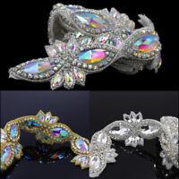1Yard AB Clear Crystal Sew/ Iron on Chain Applique Dress Belt Waistband DIY Trim
