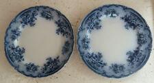 "Two Vintage Blue & White China Plates ""Florida"" F &Sons Burslem Staffordshire"