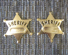 2 NEW METAL TOY SHERIFF BADGES  WEST COWBOY SILVER SHERIFF'S BADGE PARTY FAVORS
