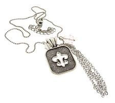 Fleur De Lis Pendant Chain Necklace with Tassel Silver Tone 1.5x16-19""