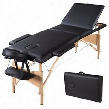 """Portable 84""""L 3 Fold Massage Table Facial SPA Bed Tattoo Free Carry Case Black"""