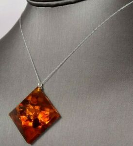 """18"""" Fused Amber Pyramid Pendant on a Sterling Silver 925 Necklace"""