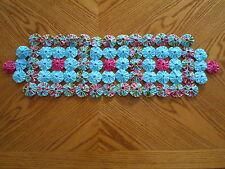 "Yo Yo Table Runner Fabric 7 1/2"" X 25""  Handmade Aqua and Pink Fabrics"