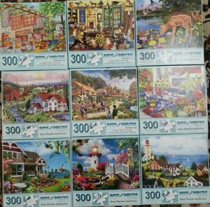 Lot of 9 Large Format Puzzles 300 Oversized Pieces All Bits and Pieces 18 x 24