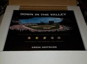 HANK AARON signed Milwaukee County Stadium book Down in the Valley - autographed