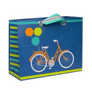 "Hallmark 9.5"" Horizontal Gift Bag Retro Bike Bicycle Image For Birthdays & Fun"