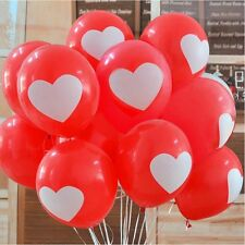 "12""White Balloons Printed Red Heart Thick Latex Big Balloon Birthday party 50pcs"