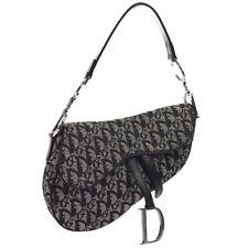 Christian Dior Trotter Saddle Hand Bag Purse Black Canvas Leather RU0052 S09326