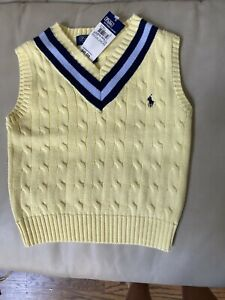 NWT Ralph Lauren Polo Boys Cable Cotton Vest 4/4t V Neck Sweater Yellow $45 NEW