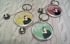handmade COFFEE LOVER KEYRING BAG CHARM 50`S STYLE * funny quote * CUP & SAUCER