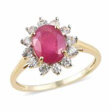 10K желтое золото АА Рубин циркон кольцо ювелирные украшения помолвка подарок для женский Ct 2.8