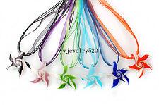 Wholesale Lots 6Pcs White Starfish Spiral Murano Glass Pendant Silk 3+1 Necklace