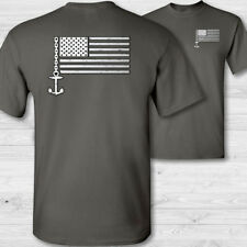Boater US flag T-Shirt - American flag boat captain tee shirt boating shirt - W