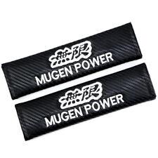 2Pcs White Embroidery MUGEN Emblem Car Pads Covers Cushion Seat Belt Shoulder