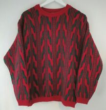 Benetton Sweater Pullover Fuzzy Mohair Italy 46 Large Christmas Red Green VTG