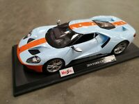 MAISTO 1:18 Scale Ford GT Light Blue Orange Diecast Model Car TOY SEE VIDEO