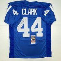 Autographed/Signed DALLAS CLARK Indianapolis Blue Football Jersey JSA COA Auto