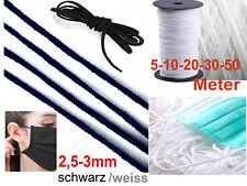 5-50m elastisches Gummiband Gummikordel Ohrschlaufe ca.2,5mm rund weich 24h