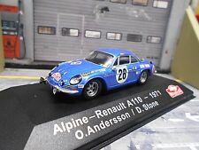 RENAULT Alpine A110 Rallye Monte Carlo 1971 #28 Andersson Winner IXO Altaya 1:43