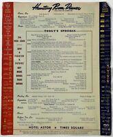 1944 Vintage WWII War Era Menu HOTEL ASTOR Times Square HUNTING ROOM Dinner NY