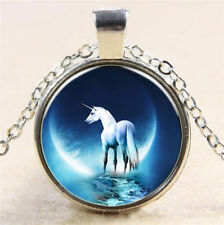 Vintage Unicorns Cabochon Tibetan silver Glass Chain Pendant Necklace jewelry !!