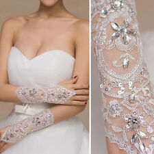 White Crystal Floral Lace Gloves Wrists Bridal Prom Opera Wedding Formal Party