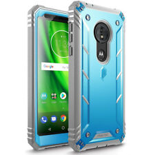 For Moto G6 Play Poetic [Revolution] Built-in-Screen Protector Case Cover Blue