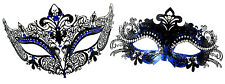 Beautiful Couple Black and Blue Masquerade Mask with Clear and Blue Rhinestones