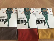(3) HUE Women's Super Opaque Tights, Brown/Rust/Yellow Size 1
