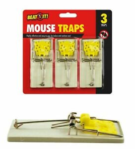 Reusable Wooden Three Mousetraps Easy To Set Wooden Mouse Trap