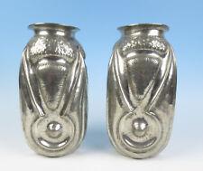 "Pair Alice & Eugene CHANAL Antique French Art Nouveau Hammered Tin 11"" Vase Deco"