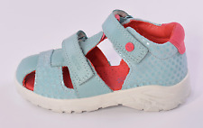 Ecco Peekaboo Fisherman Infant Girls Aqua Blue Leather Sandals UK 5.5 EU 22