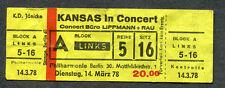 Origingal 1978 Kansas unused concert ticket Berlin Germany Point Of Know Return